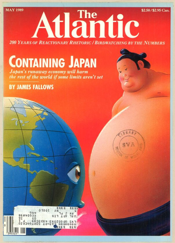 Atlantic 1989 May. Illustration by Robert Grossman. 2012: Just switch China for Japan and Fu Manchu (or other such Chinese stereotype) for the sumo wrestler.