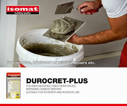 DUROCRET PLUS: For repairs on concrete and masonry, choose DUROCRET-PLUS, the new cement mortar by ISOMAT. DUROCRET-PLUS is easy to apply and suitable for both indoor and outdoor applications. It provides very good adhesion to the substrate, water impermeability and abrasion resistance.