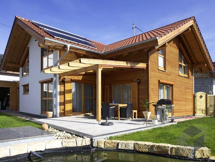 Beilstein von Rems-Murr-Holzhaus Wohnfläche gesamt124,25 m² Zimmeranzahl6,5 Landhaus-Stil, Fertighaus, Fertighaus.de, Haustypen, Hausvergleich, Blockhaus, Blockhütte, Satteldach