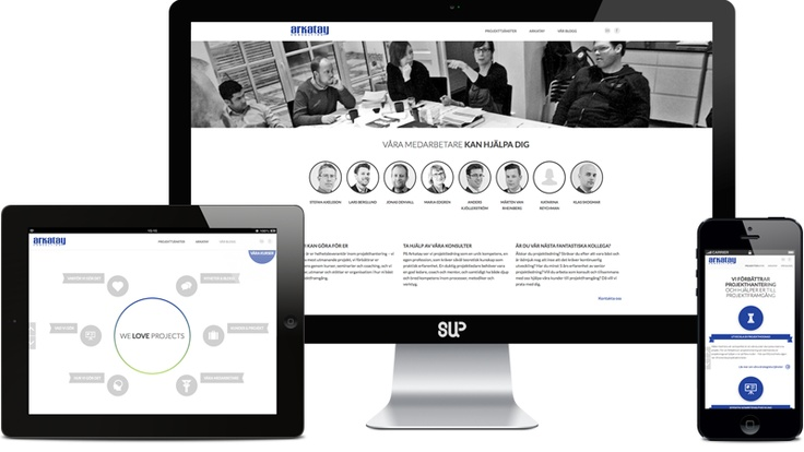 Web design. This is the newly launched website we developed for Arkatay. We also produced posters and brochures, and took the photos. A great company filled with fantastic people. Go check them out www.arkatay.se