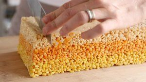 Candy Corn Treats.  Rice Crispie treats with a twist for Halloween.