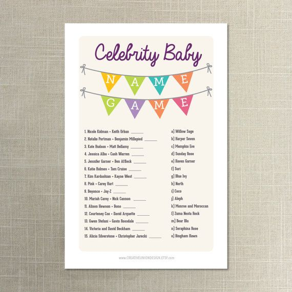 Baby Shower Celebrity Name Game   Baby Shower Game   Name Game   Print At  Home   A4 And US Sizes   A4 Shower Game   Instant Download