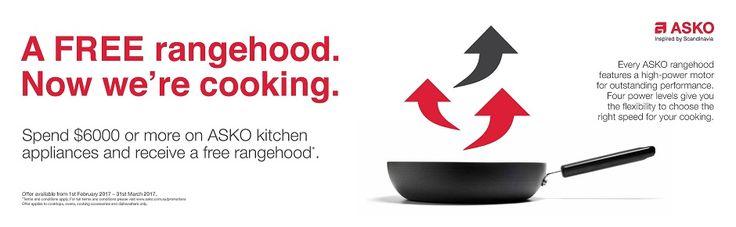 ASKO - FREE Rangehood with your Kitchen Appliance Package    FREE ASKO Rangehood with your ASKO Kitchen Appliance Package when you spent $6,000 or more*   Purchase ASKO Kitchen Appliances in excess of $6,000* and receive a Free ASKO Rangehood