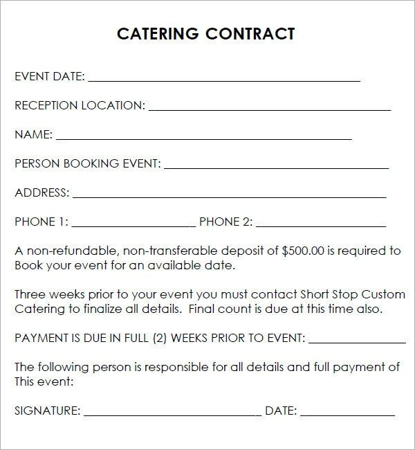 Wedding Catering Contract Template Luxury Printable Free Catering Contracts Video Search Engine At In 2020 Contract Template Event Template Contract