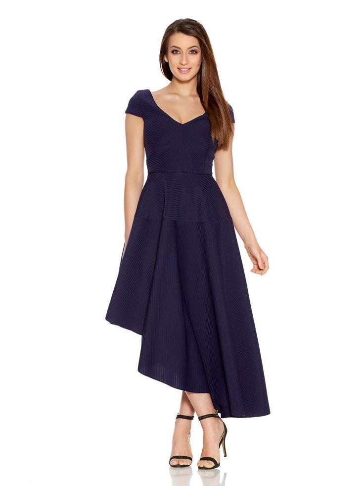 Navy Ribbed V Neck Asymmetrical Dress - Quiz Clothing
