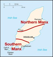 Dialect map of Manx (boundaries are approximate)