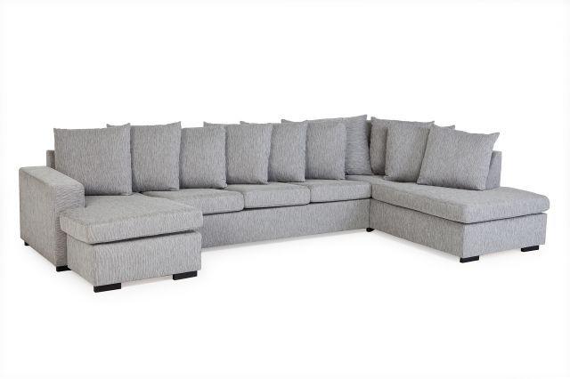 Chicago U-soffa XL Höger - Grå/10st kuddar