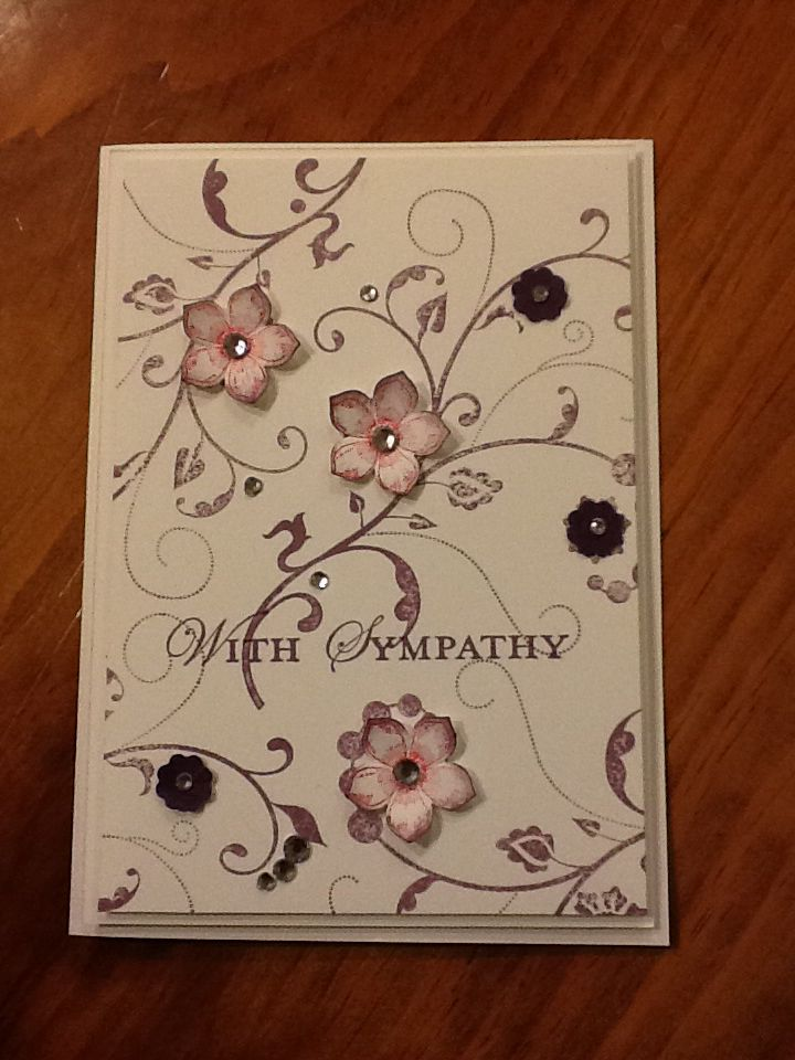 Stampin up Flowering Flourishes, Petite Petals sympathy card.