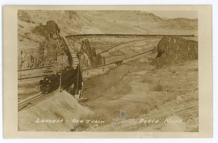RPPC Longest Ore Train Railroad BUTTE MT Vintage Mining Real Photo Postcard