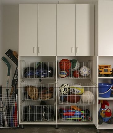 Sporting Equipment In It S Place The Garage Neat And Organized By White Rabbit Organizers Chicago Storage Pinterest