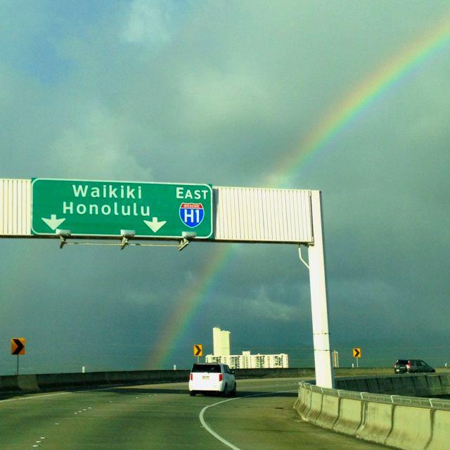 exiting Honolulu International Airport towards Waikiki Out of that Delta and on the ground, driving to Waikiki. What a great feeling!!!!!