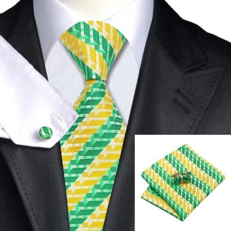 Подарочный галстук зеленый с желтым в полоску - купить в Киеве и Украине по недорогой цене, интернет-магазин