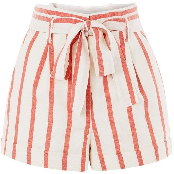 Topshop Stripe Paper Bag Shorts ($38) ❤ liked on Polyvore featuring shorts, topshop, red, red shorts, paperbag waist shorts, striped shorts, red striped shorts and tie-dye shorts