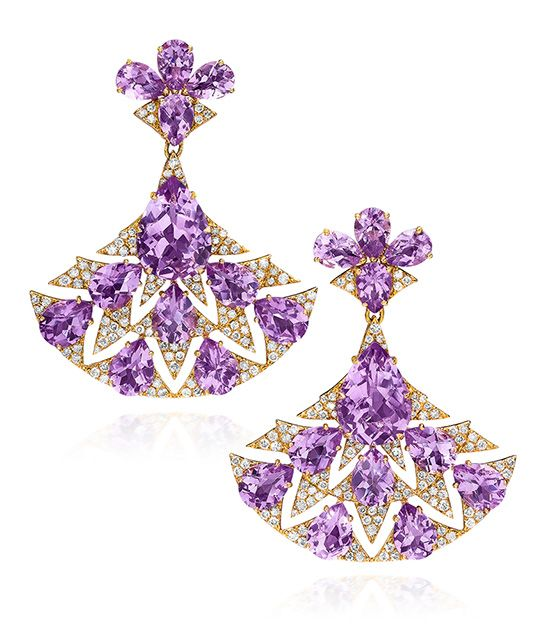 CELLINI Jewelers - 25.81 carats of pear-shaped Amethyst and 2.21 carats of round brilliants compose these gorgeous Fan Earrings. Set in 18-karat rose Gold. ☆$8,400.00☆