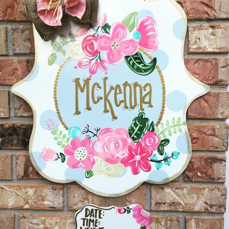 Baby oh baby!!! What better way to announce the newest addition than this twin announcement!! These door hangers by ByeByeBirdie are perfect for gender reveals, yard signs or hospital door announcements. Every piece is hand painted and weather sealed so no two signs are exactly alike. Bow colors and materials are customizable along with paint colors. If I dont have the color we can make it!!! Optional name can be painted on, vinyled on, hung under or a chalk board piece can be added. Date…