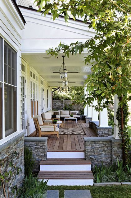 traditional porch post and stone? by Tim Barber LTD Architecture & Interior Design