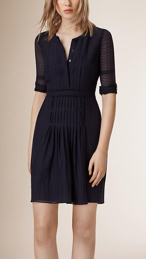 Navy Pleated Wool Silk Dress - Image 1                                                                                                                                                      More