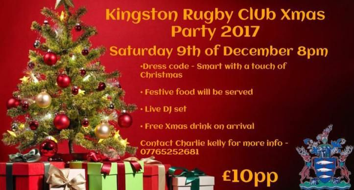 Tickets on sale for Kingston Rugby Clubs Christmas Party on 9th December at 8pm in #Chessington @KingstonRFC