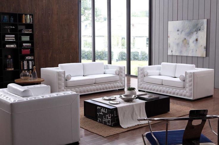 Divani Casa Dublin Modern White Leather Sofa Set w/ Buttons - VG2T0697-WHTB