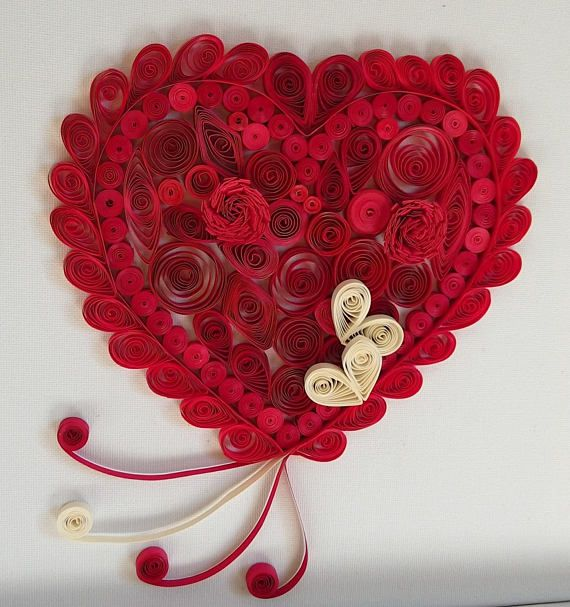 Quilling Valentine's Heart Art on Canvas Paper quilled