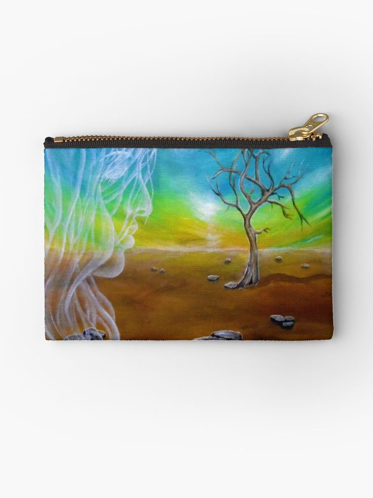 Studio Pouch,  landscape,tree,sky,angel,fairy,face,girl,woman,female,feminine,figure,white,long,hair,blue,brown,colorful,magical,impressive,fantasy,cool,beautiful,unique,trendy,artistic,unusual,accessories,for sale,design,items,products,presents,gifts,ideas,carry all pouch,redbubble