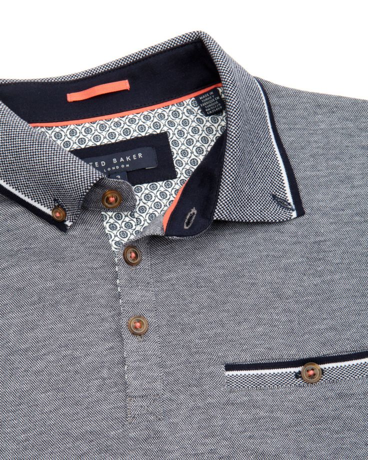 Contrast collar polo - Navy | Tops & T-shirts | Ted Baker ROW