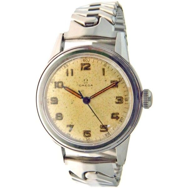 Vintage Military Omega Watch ca 1943/1944 WWII ($200) ❤ liked on Polyvore featuring jewelry, watches, vintage jewelry, military wrist watch, vintage wristwatches, military watches and military style watches
