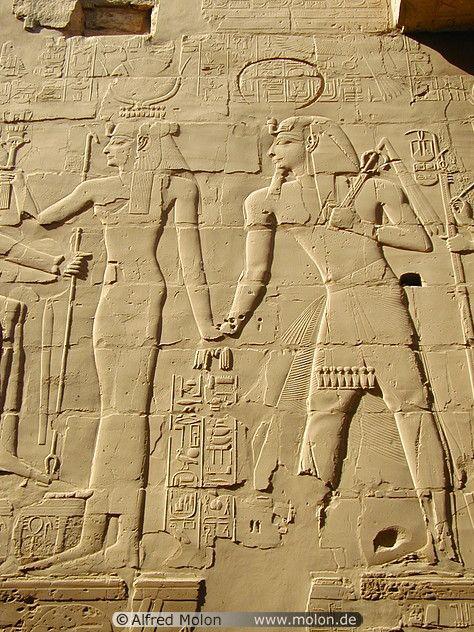 Bas-relief with pharaoh and goddess Hathor Karnak Egypt