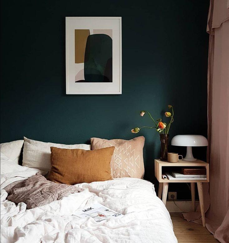 Dunkelgrün und Orange / Gelb. Bettdecke verlässt…