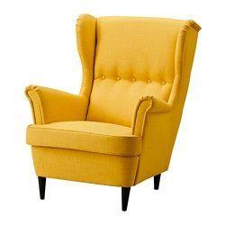 IKEA - STRANDMON, Fauteuil à oreilles, Isefall écru, , Vous pouvez vraiment vous détendre, confortablement assis dans ce fauteuil à haut dossier qui apporte encore plus de soutien à la nuque.Garantie 10 ans. Détails des conditions dans le livret Garantie.