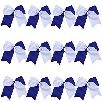 """8"""" 2 Colors Jumbo Cheerleader Bows Ponytail Holder Cheerleading Bows Hair 12 Pcs (Royal blue/White) Review"""