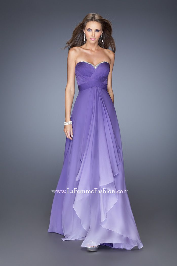 La femme 19686 ombre prom dress purple ombre prom for Purple ombre wedding dress