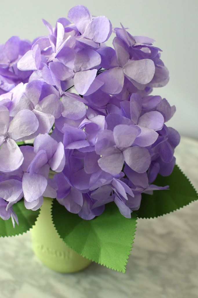 DIY Tissue paper Hydrangea that is gorgeous up close. Tutorial from Crafted Sophistication that's gorgeous and simple to recreate! #DIY #tutorial #hydrangea #paperflower #tissuepaper #wedding #bridal