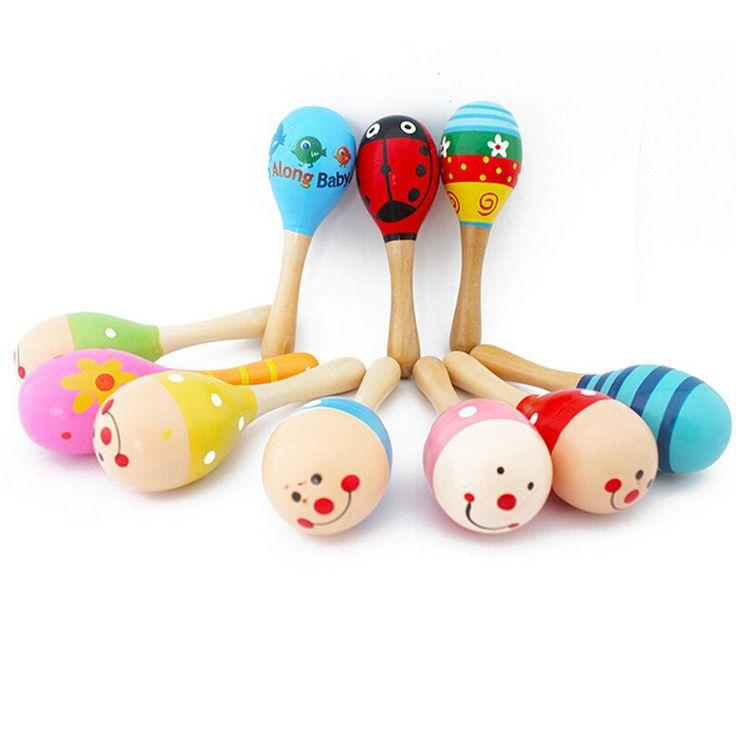 1ピース新しい赤ちゃん愛ミュージカル木製マラカスウッドガラガラおもちゃ子供楽器パーティー子供赤ちゃんシェーカー玩具