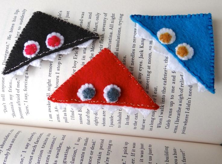 UpCycled Felt Monster Corner Bookmarks by StacheandLace on Etsy, $6.00