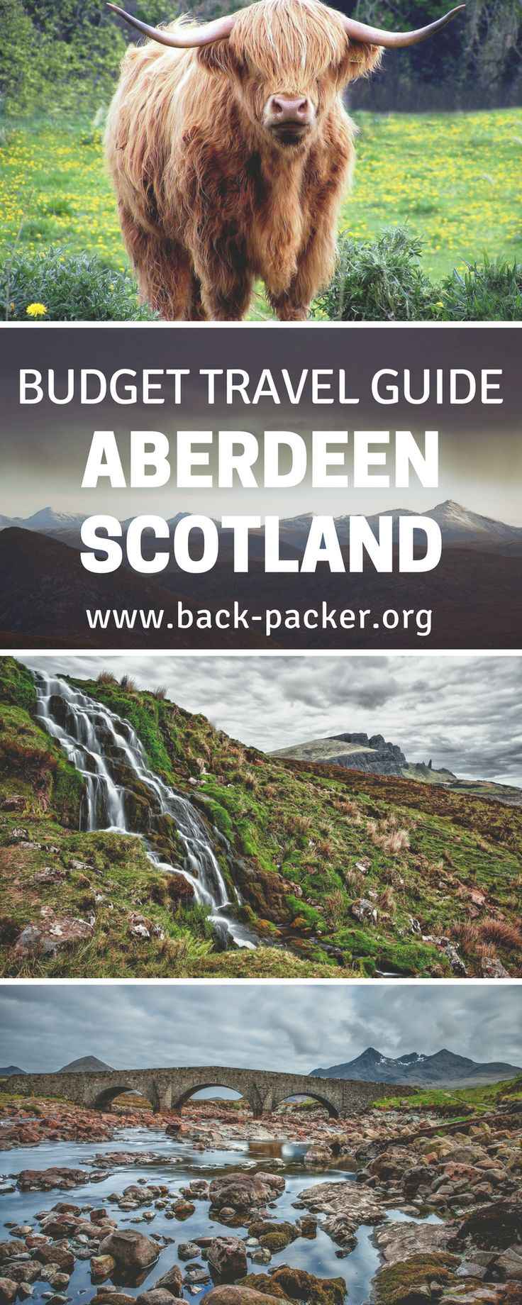 A budget travel guide to free things to do to in the often overlooked city of Aberdeen, Scotland. Take a train from London or Edinburgh to a small city located near the famous highlands. Wander around the city and take in the beautiful landscape surrounding Aberdeen. The local university of King's College is a must see.   Back-packer.org #Aberdeen #Scotland