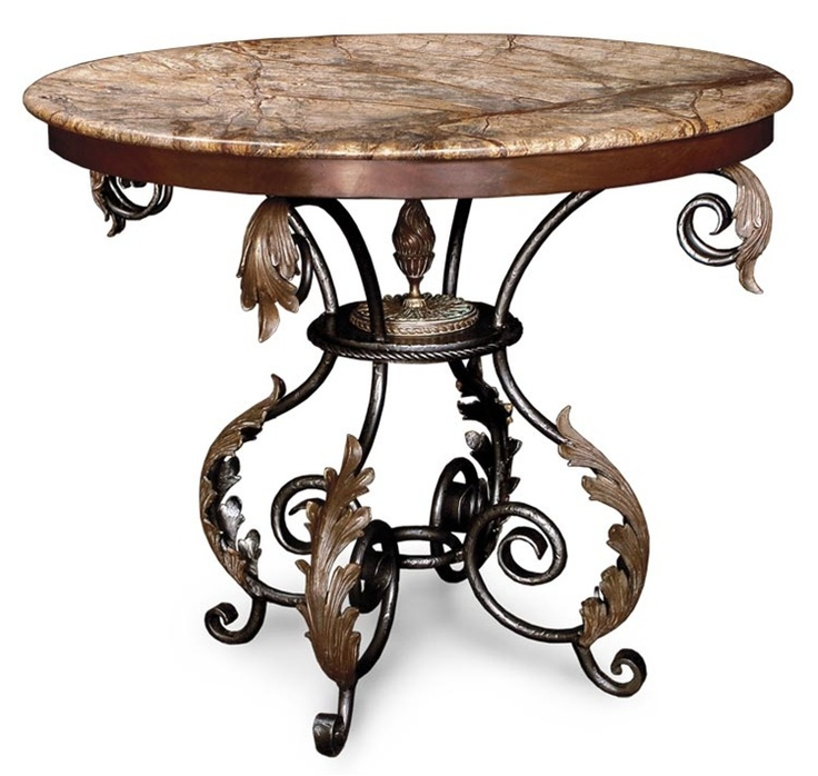 Accent Table Walnut Marble Top Walnut Iron Base