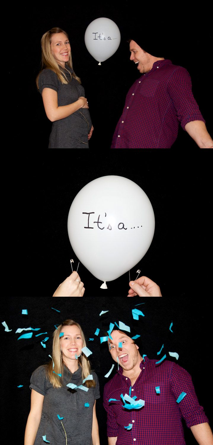 Announce the sex of your baby with balloons and confetti #genderreveal