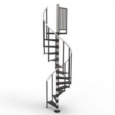 IN-STOCK: Primed Non-Code 11ft 4in - 12ft 8in high, 3ft 6in Diameter Left-Hand Up Spiral Stair with Smooth Treads, 0 Center Balusters, 1 Platform Rail and Aluminum Handrail