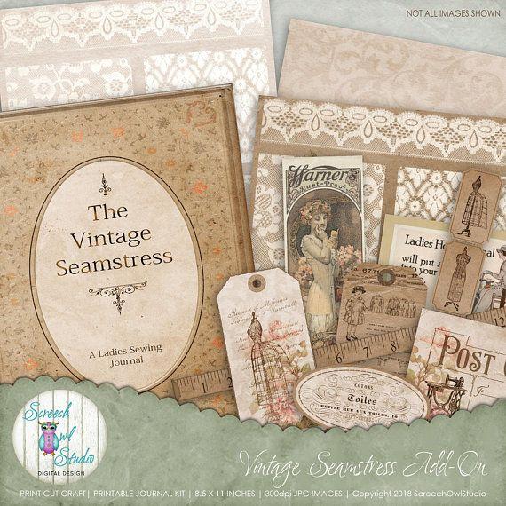Sewing Ephemera Journal Pages And Elements Needlework Junk Etsy Vintage Scrapbook Paper Craft Supplies Paper Crafts