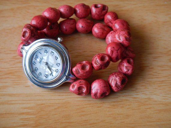 Pink skull watch