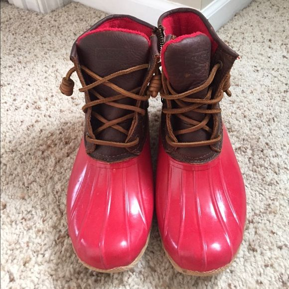Sperry Duck Boot Red Sperry duck boot. Worn lightly Sperry Top-Sider Shoes Winter & Rain Boots