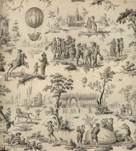 le ballon de gonesse, c. 1784 -The pattern is based on two etchings made shorly after the Montgolfier brothers successful ascend in hydrogen-filled hot air balloons