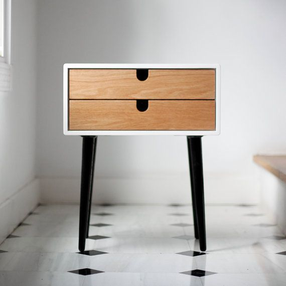 Beautiful Nightstand / bedside table inspired by Scandinavian mid-century design.  Fully handmade with high quality materials. This new version has gained in height thanks to the design of new legs that are taller and stylized. measurements: Table 2 drawers - 18.3 wide x 13.77 deep x 23.03 high (46,5 cm wide x 35 cm deep x 58.5 cm high) Table 1 drawer - 18.3 wide x 13.77 deep x 19.48 high (46,5 cm wide x 35 cm deep x 49.5 cm high) DMF board in high resistance white lacquer . drawer  Solid…
