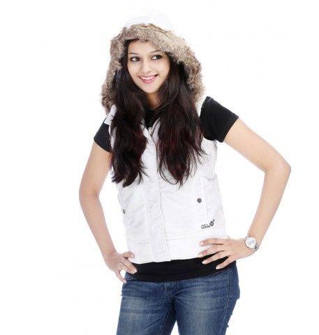 Duke Women Stylish Collar White Jacket