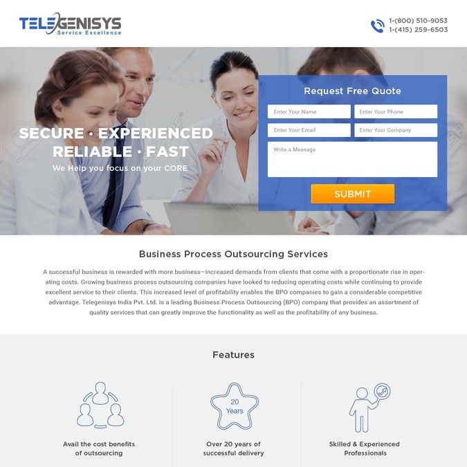 Telegenisys landing page for BPO client signup by artsemafey