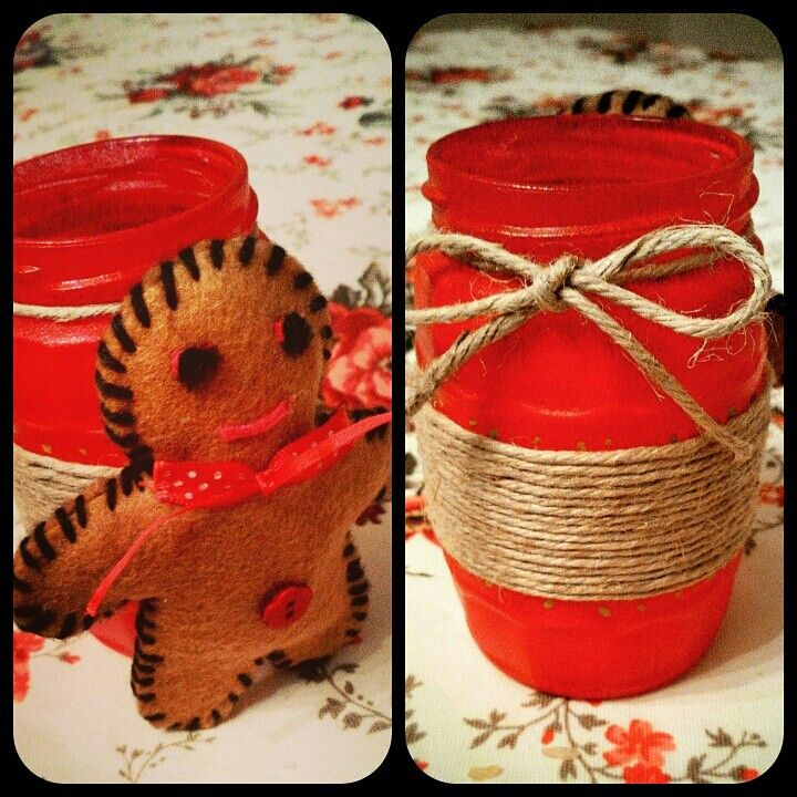 #gift 4 #my #man #pen #box #made #by #mason #jar #painting #mason #jar #yarn #cookieman