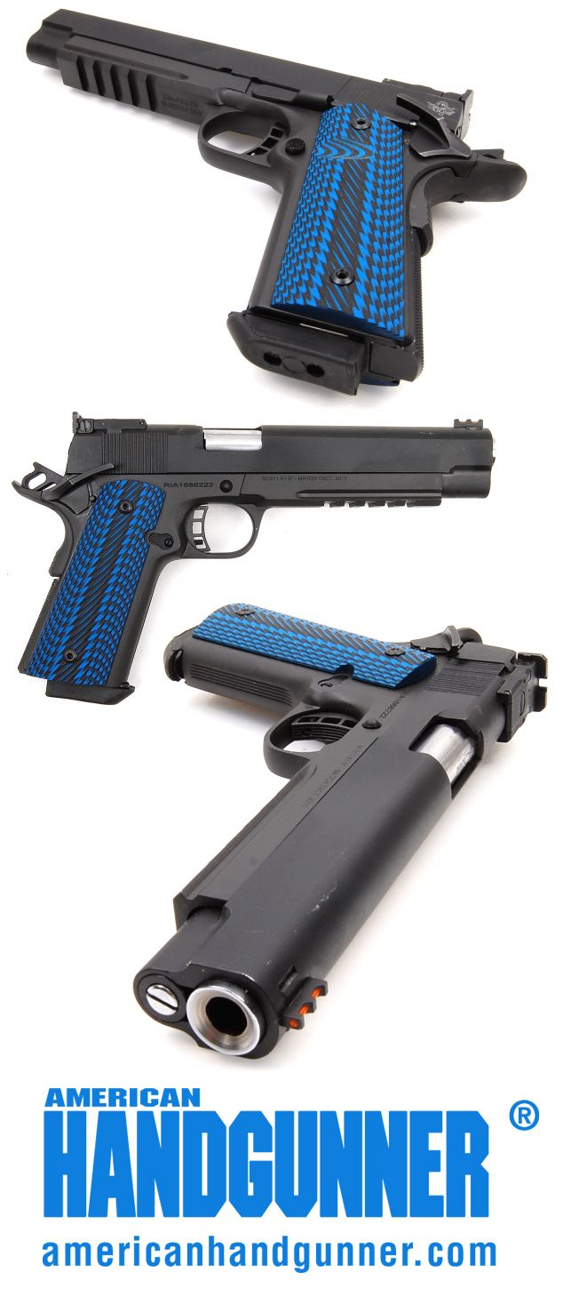 """Exclusive: A Brief Word About These Grips   By Mark Kakkuri   These aren't just any cool grips. They are SGM Grips """"9019 Horned Lizard Texas Blue/Black G-10 with std Thumb Notch, Genuine Larry Davidson Monkey Grips"""" and they look terrific on this Rock Island Armory Pro Match Ultra 6"""", a competition 1911 chambered in 10mm. They're a functional upgrade, too. While RIA's stock rubber grips are quite good, the quality of grip went up a notch with these cool blues.   © American Handgunner 2017"""