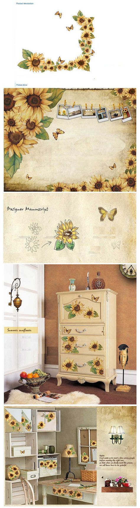 78 best sun flower images on pinterest sunflowers sunflower wall decal sun flowers wall decal wall by theeasylife 59 00