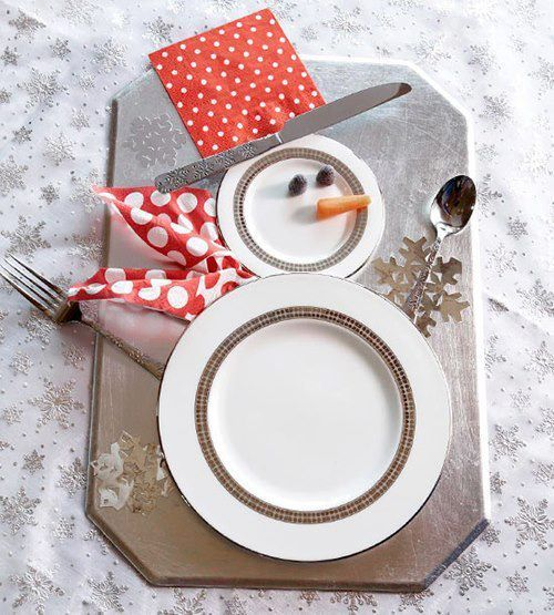 Table de fête design disposition des assiettes et couverts en bonhomme de neige pour Réveillon de Noël